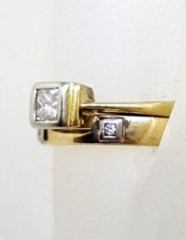 18ct Yellow Gold Princess Cut Diamond Engagement with Matching Wedding Ring Set