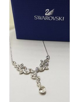 Swarovski Crystal Plated Ornate Drop Collier Necklace