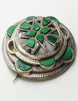 Sterling Silver Large Round Malachite Scottish Brooch - Antique / Vintage