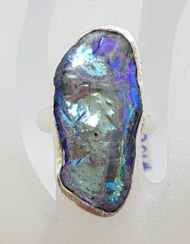 Sterling Silver Large Black Titanium Kyanite Ring