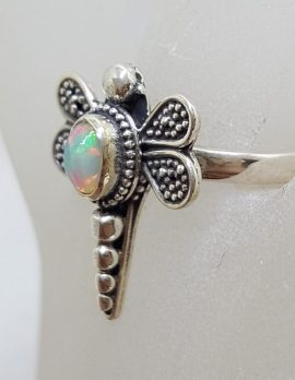 Sterling Silver Opal Dragonfly Ring