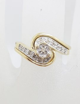 9ct Yellow Gold Diamond Twist Cluster Engagement and Wedding Ring Set