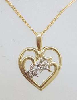 9ct Yellow Gold with Diamond Ornate Floral Heart Pendant on Gold Chain