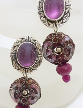 Sterling Silver Oval Carved Amethyst with Ornate Cloisonne Enamel Long Drop Earrings