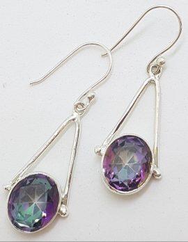 Sterling Silver Oval Mystic Topaz / Quartz Long Drop Earrings