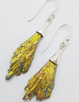 Sterling Silver Black Titanium Kyanite Long Drop Earrings - Vibrant Yellow