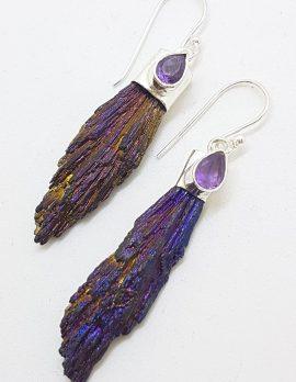 Sterling Silver Black Titanium Kyanite Long Drop Earrings with Amethyst – Purple