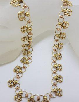 14ct Yellow & Rose Gold Ornate Collier Necklace - Antique / Vintage Handmade : Horwath-Macho Vienna
