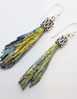 Sterling Silver Black Titanium Kyanite Long Drop Earrings - Blue and Yellow with Ornate Top