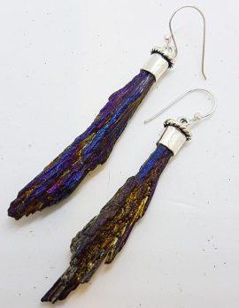 Sterling Silver Black Titanium Kyanite Long Drop Earrings - Purple with Amethyst