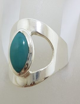 Sterling Silver Marquis Shape Natural Turquoise in Wide Open Ring