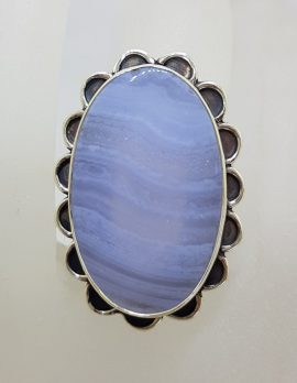 Sterling Silver Large Oval Blue Lace Agate with Ornate Rim Ring - Faceted