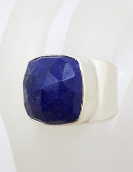 Sterling Silver Large Faceted Lapis Lazuli Ring