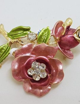 Plated Pink and Red with Rhinestone Rose Costume Jewellery Brooch