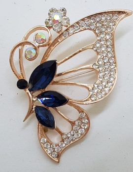 Plated Blue with Rhinestone Large Butterfly Costume Jewellery Brooch