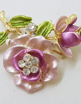 Plated Pink and Purple with Rhinestone Rose Costume Jewellery Brooch
