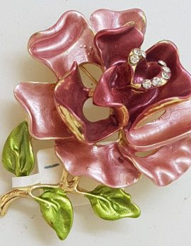 Plated Pink Rose Brooch – Costume Jewellery