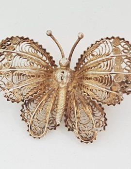 Sterling Silver Ornate Filigree Butterfly Brooch - Vintage