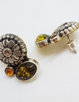 Sterling Silver Amber Floral Stud Earrings