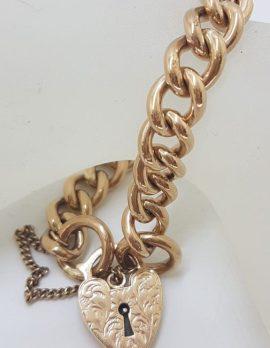 9ct Rose Gold Heavy Curb Link Padlock Bracelet - Antique / Vintage