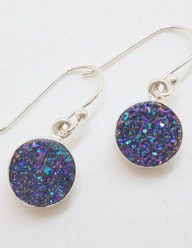 Sterling Silver Round Blue Druzy Drop Earrings