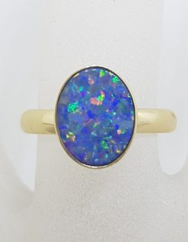 9ct Yellow Gold Oval Blue with Multi-Colour Opal Ring – Cooper Pedy