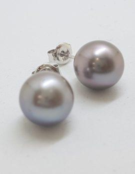 9ct White Gold Grey / Black Tahitian Pearl South Sea Stud Earrings