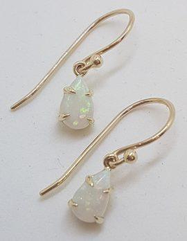 9ct Yellow Gold Claw Set Teardrop / Pear Shape Solid Opal Drop Earrings