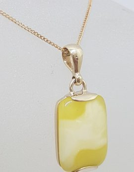 9ct Yellow Gold Natural Butter Amber Rectangular Pendant on Gold Chain