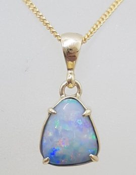 9ct Yellow Gold Triangular Blue Opal Claw Set Pendant on Gold Chain