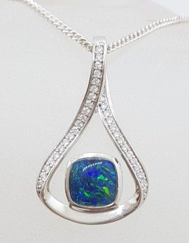 Sterling Silver Blue Opal & Cubic Zirconia Large Pendant on Silver Chain