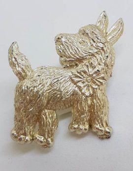 Plated Large Scottish Terrier Dog Brooch - Vintage Costume Jewellery