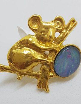 Plated Opal Triplet Koala Brooch - Vintage Costume Jewellery