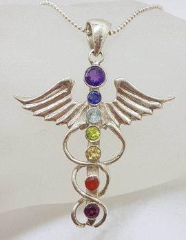 Sterling Silver Caduceus Symbol Chakra Pendant on Silver Chain – Amethyst, Carnelian, Citrine, Garnet, Iolite, Peridot and Topaz
