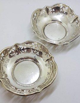 Sterling Silver Ornate Open Design Pair of Round Pin Dishes - Hallmarked Birmingham 1951 - Antique / Vintage