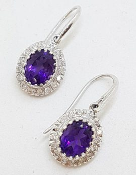 9ct White Gold Oval Amethyst and Diamond Cluster Drop Earrings
