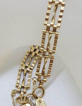 9ct Yellow Gold Three Row Twist Gatelink Bracelet with Heart Padlock - Antique / Vintage