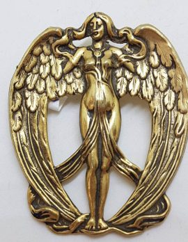 Plated Art Noveau Style Naked Lady with Angel Wings Brooch - Vintage Costume Jewellery