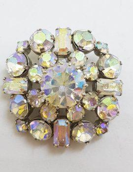 Plated Aurora Borealis Rhinestone Round Cluster Brooch - Vintage Costume Jewellery