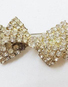 Plated Rhinestone Bow Brooch - Vintage Costume Jewellery