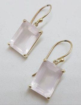 Sterling Silver Faceted Rose Quartz Rectangular Drop Earrings