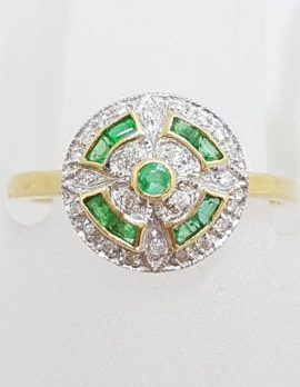 9ct Yellow Gold with White Gold Natural Emerald and Diamond Round Cluster Ring - Art Deco Style