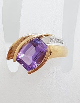 9ct Rose Gold Large Amethyst with Diamond Ring - Unusual Shape Ring
