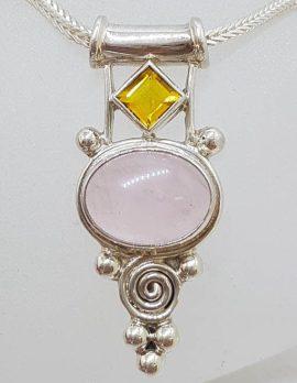 Sterling Silver Cabochon Cut Rose Quartz with Citrine Ornate Pendant on Chain