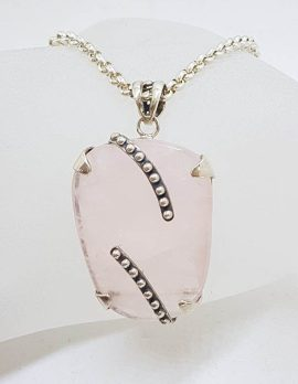 * SOLD *Sterling Silver Rose Quartz Large Pendant on Stg. Silver Chain