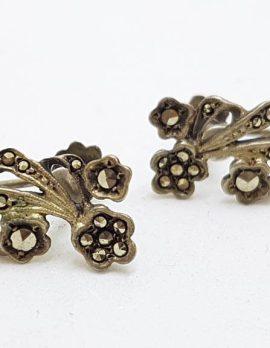 Sterling Silver Vintage Marcasite Floral Screw-On Earrings