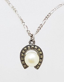 Sterling Silver Vintage Marcasite Pearl in Horseshoe Pendant on Silver Chain