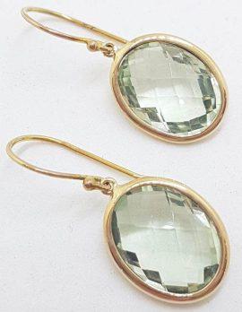 9ct Yellow Gold Green Amethyst Oval Earrings