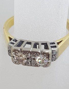 18ct Yellow Gold with Platinum Diamond Toi et Moi High Set Engagement / Dress Ring - Antique / Vintage