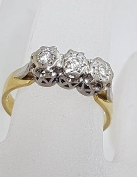 18ct Yellow Gold with Platinum Diamond Trilogy Ring - Antique / Vintage